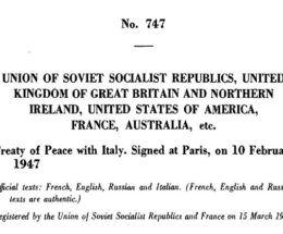 il Trattato di Pace con l'Italia